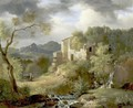 Italianate Landscape With Figures On A Path Near Ruins - Achille-Etna Michallon
