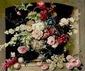 Still Life With Flowers And Grapes - Dutch School