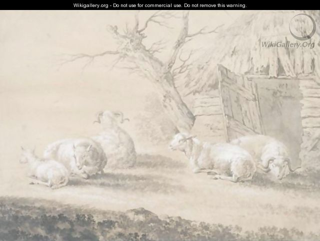 Sheep Before A Barn - Dutch School