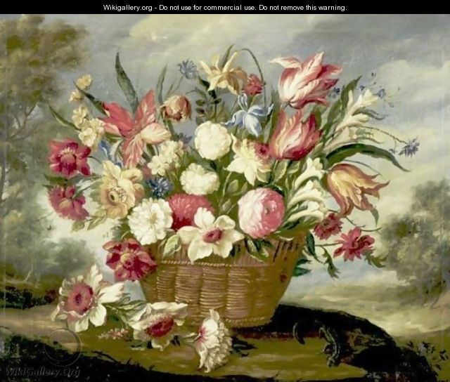 Still Life With Flowers In A Basket - Spanish School