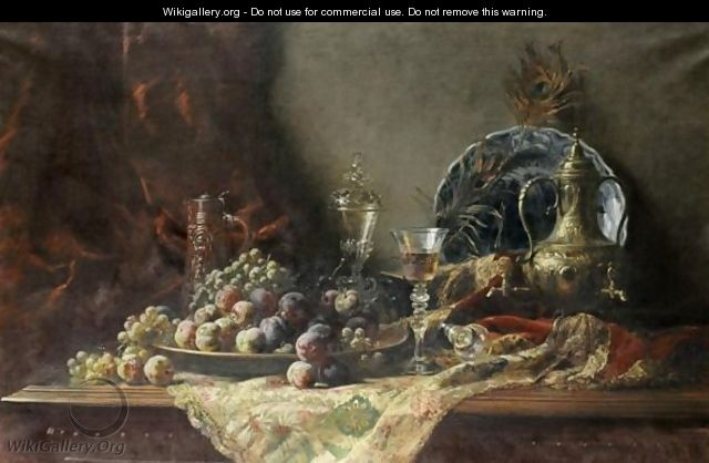 Nature Morte Au Verre Et A La Coupe De Fruits - Gustave-Emile Couder
