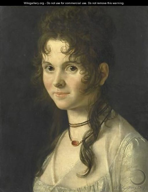 Portrait De Femme En Buste Portant Un Collier - (after) Anne-Louis Girodet De Roussy-Trioson