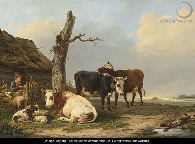 Cattle Near A Farm - Hendrik Adam Van Der Burgh