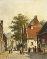 Villagers In The Sunlit Streets Of A Dutch Town - Adrianus Eversen