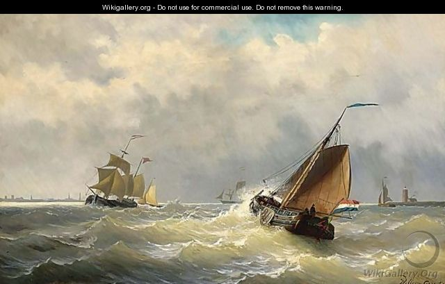 Shipping In Choppy Waters, A Town In The Distance - Willem Jun Gruyter