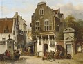 A Town Scene With Figures Near A Water Pump - Salomon Leonardus Verveer