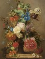Flowers In An Earthenware Vase, With An Imperial Crown And An Opium Poppy In Top - George Jacobus Johannes Van Os