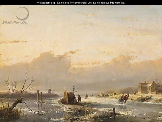 A Frozen River With Skaters And A A´koek En Zopie A´ - Andreas Schelfhout