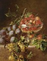 A Still Life With Prunes, Gooseberries And Strawberries In A Bowl - Adriana-Johanna Haanen