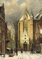 A Wintry View Of The Westerstraat With The Westerkerk, Enkhuizen - Willem Koekkoek