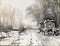 A Winter Landscape With Horses And Wagons Along A Road - Louis Apol