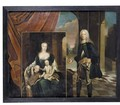 Portrait Of A Nobleman Holding A Portrait Of His Wife And Child - German School