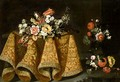 Still Life With A Bouquet Of Flowers On A Gold Plate On A Table Draped With A Gold Embroidered Cloth, A Vase Of Flowers Beyond - (after) Antonio The Younger Gianlisi