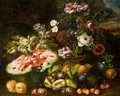 Still Life Life With Grapes, A Melon, Figs, Plums, Peaches And Various Flowers In A Landscape - (after) Abraham Brueghel