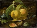 A Still Life Of Peaches On A Pewter Plate And Figs - Roman School