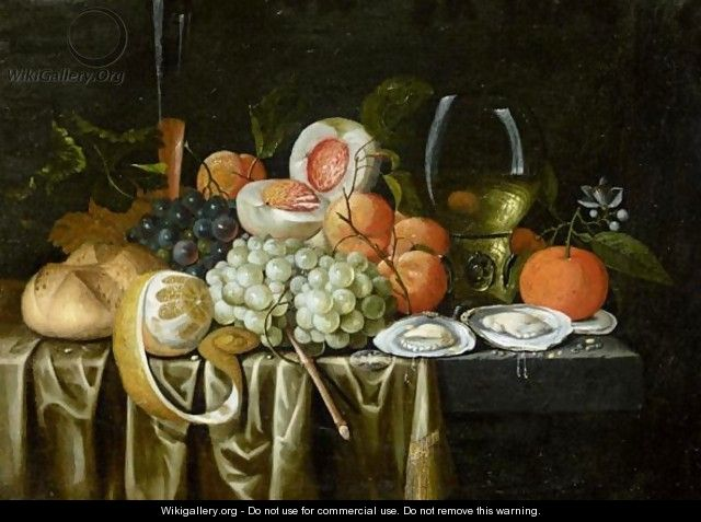Still Life With A Roemer, Oysters, Oranges, Grapes, Apricots - Jan Pauwel II the Younger Gillemans