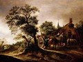 Landscape With Figures And Carts Before A Cottage - (after) Isaack Jansz. Van Ostade