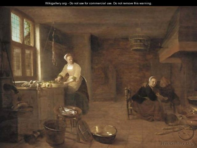 A Kitchen Interior With A Woman Preparing Dinner And Man Courting A Young Woman By The Fireplace - Hendrick Maertensz. Sorch (see Sorgh)