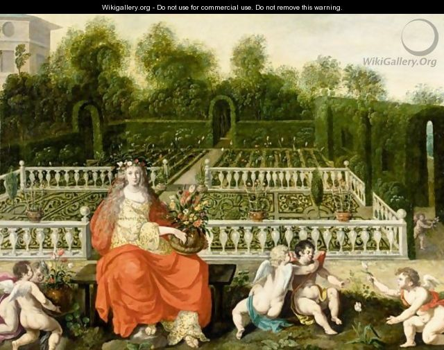 A Formal Garden With Flora Holding A Vase Of Flowers And With Putti Playing - Flemish School