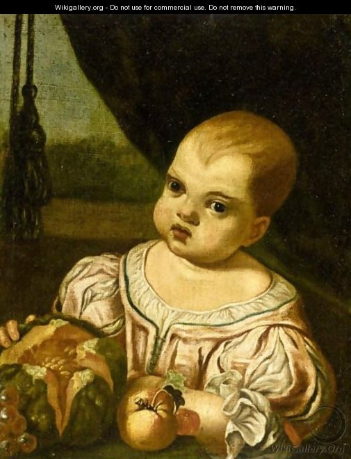 Portrait Of A Child, Half Length, Wearing A Pink Silk Dress And Holding A Melon - (after) Antonio Amorosi