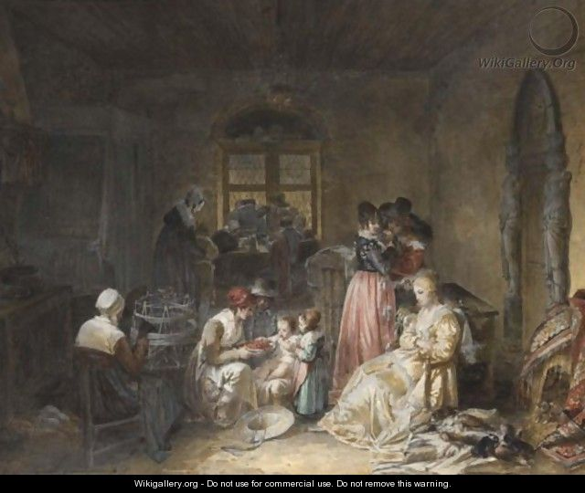 Domestic Interior With Ladies And Children Eating Fruit - French School