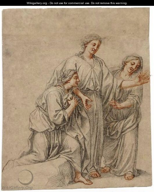 Three Women Lamenting - French School