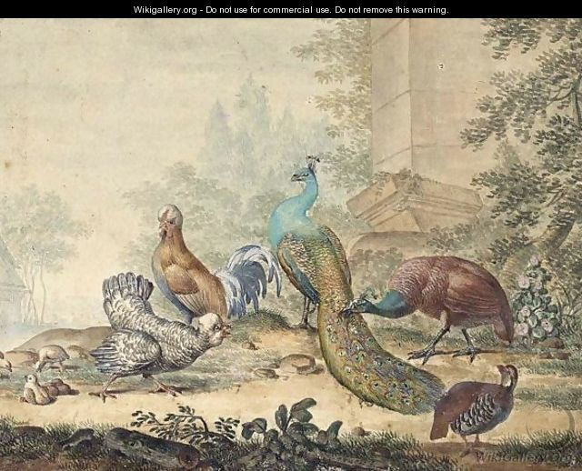 A Peacock And Peahen With Other Fowl In A Yard - Jabes Heenck
