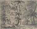 A Wooded Landscape With Travellers On A Path - Paulus Van Liender