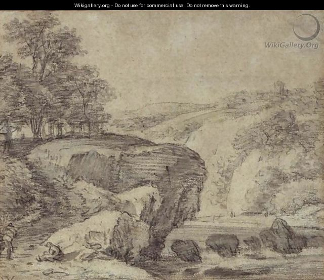 Rugged River Landscape With Travellers By Rapids - Simon De Vlieger