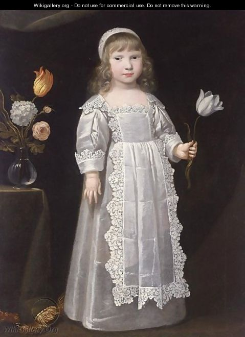 A Portrait Of A Young Girl, Standing Full-Length, Wearing A White Dress With An Apron Set With Lace And A White Bonnet, Holding A Tulip In Her Left Hand, A Vase With Flowers Beside Her On A Table - (after) Philippe De Champaigne