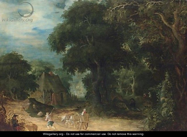 A Wooded Landscape With A Woman In A Horse-Drawn Cart And A Shepherd And His Herd On A Path - Abraham Govaerts