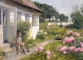 On The Steps To The Cottage - Peder Monsted