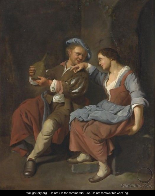 A Maid With A Young Man Asleep In A Tavern - Jacob Toorenvliet