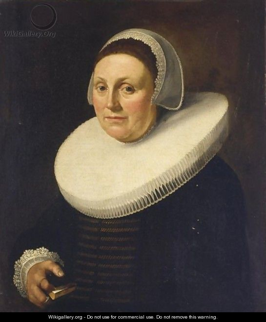 A Portrait Of A Lady, Bust Length, Wearing A Black Dress With A Mill Stone Collar And A White Lace Bonnet, Holding A Book In Her Hand - Delft School