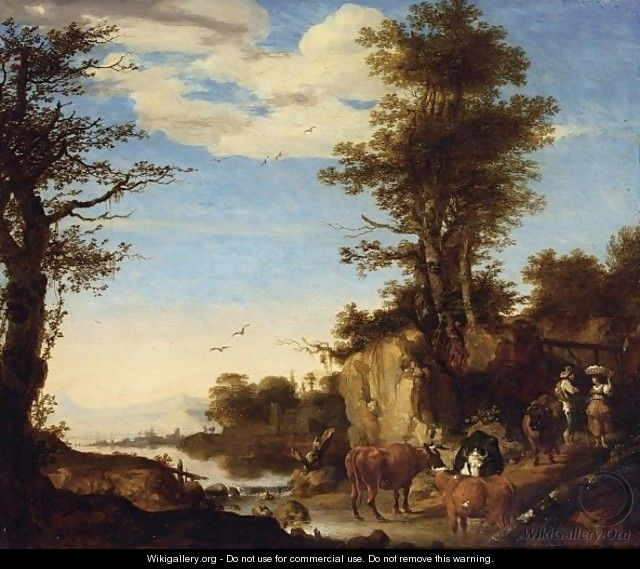 A River Landscape With A Shepherd With His Herd On A Path Conversing With A Woman - Arie de Vois