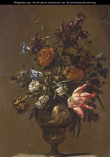 A Still Life With A Tulip, Peonies, Cockscomb - Neopolitan School