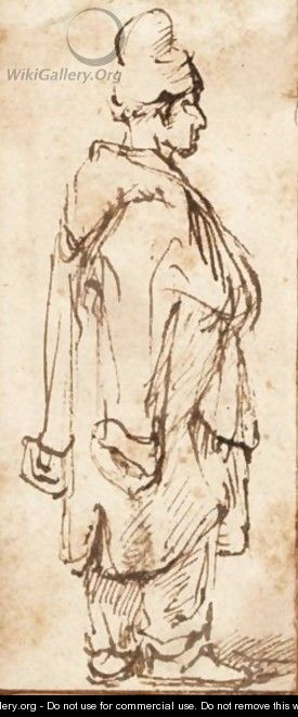 A Standing Man With A Turban And A Coat Around His Shoulders - (after) Harmenszoon Van Rijn Rembrandt