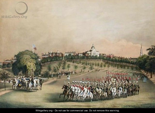 The National Lancers With The Reviewing Officers On Boston Common - C. Hubbard
