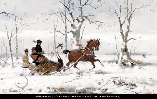 Winter Sleigh Ride Alfredo Tominz Wikigalleryorg The Largest