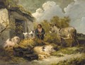 A Farm Boy With A Donkey, Pigs And A Sheep Dog - George Morland