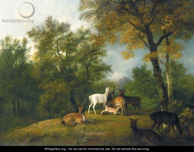 Red Deer Grazing Beneath Trees - (after) George Barret
