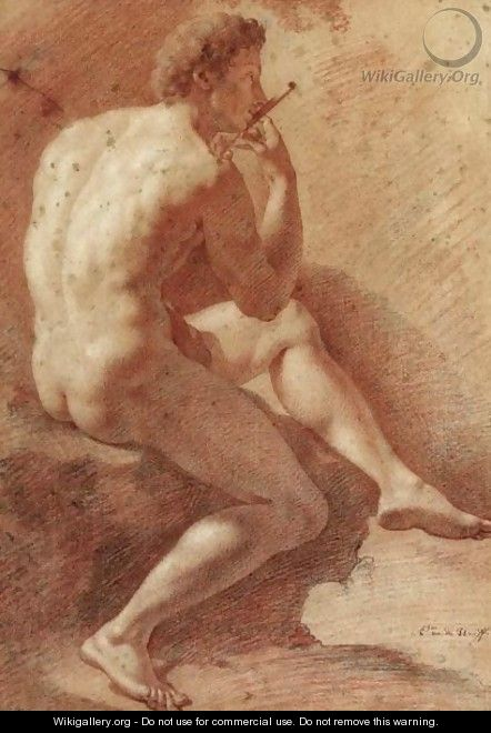 Study Of A Male Nude Playing The Flute - Adriaen Van Der Werff