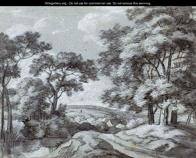 A Wooded Landscape With A Path Running Along A River - Simon De Vlieger