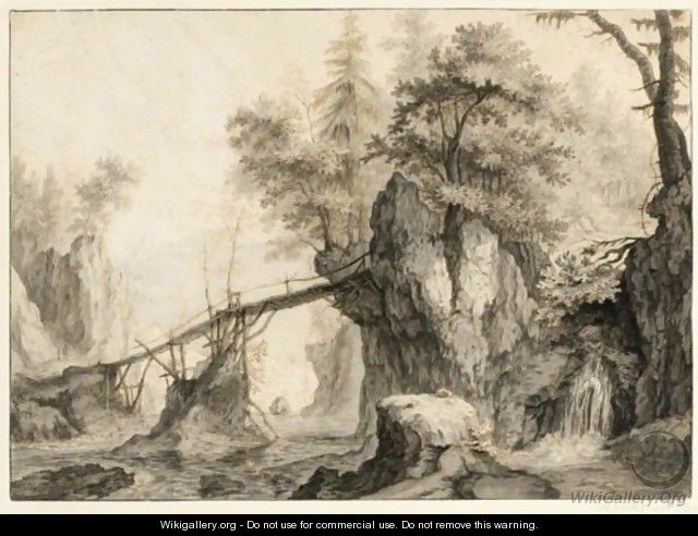Rugged Wooded River Landscape With A Bridge - Flemish School