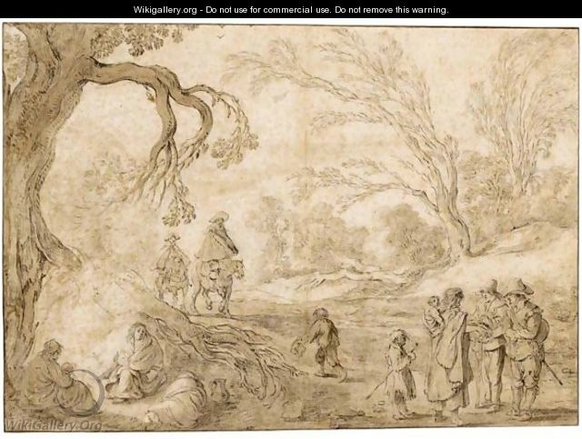 Wooded Landscape With Riders Approaching A Group Of Gypsies - Esaias Van De Velde