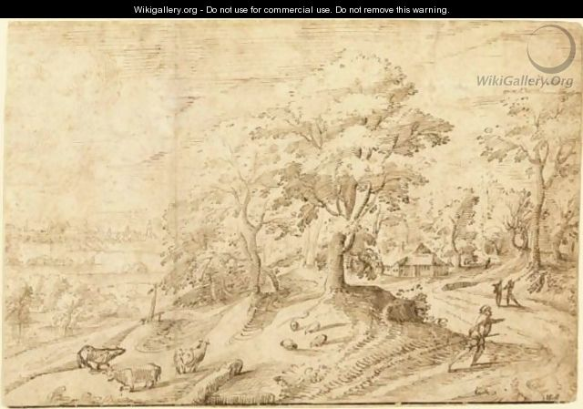 A Wooded Landscape At Sunset With A Herdsman And His Animals, A Town In The Distance - Flemish School