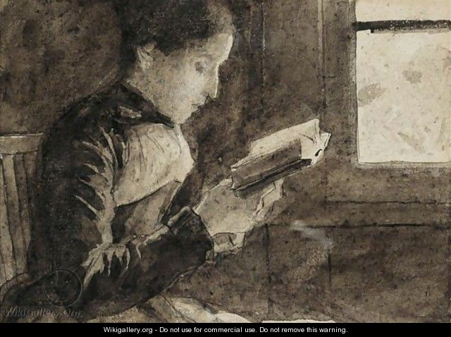 Reading Woman At The Window - Albert Anker