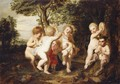 A Wooded Landscape With Putti And Satyrs Playing Music And Dancing - (after) Sir Peter Paul Rubens
