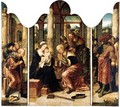 A Triptych The Adoration Of The Magi - Central Panel The Virgin And Child With Caspar And Melchior - Left Wing Saint Joseph With Two Shepherds - Right Wing Balthasar With Other Figures Behind - Antwerp School