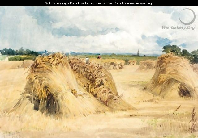 Hay And Wheat Stooks Before The Rain - Edward Duncan